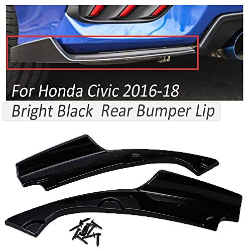 mlzaq 1 Paar Bright Black Anti Scratch-Auto-hintere Stoßstange Lip for Honda Civic Diffuser Splitters Schürzen Spoiler Körper Protect Kit 2016-18 (Color : Glossy Black)