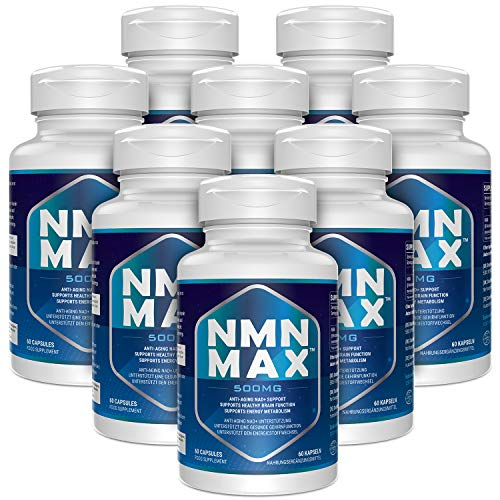 NMN Capsules with Maximum Strength- 500mg Capsule - High Absorption Nicotinamide Mononucleotide Supplement- Supports Brain Function & Anti Aging(480 Count(Pack of 8))