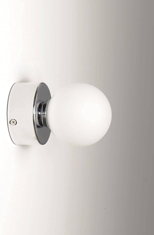 Badlampe IP20 Chrom Rund Glas Kugel Schirm blendarm G20 ...