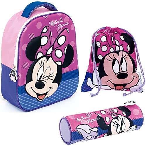 REQUETEGUAY Mochila Minnie Mouse 3D Infantil Niñas (32 cms) + Estuche Minnie Mouse Portatodo + Bolsa Minnie Mouse para Merienda