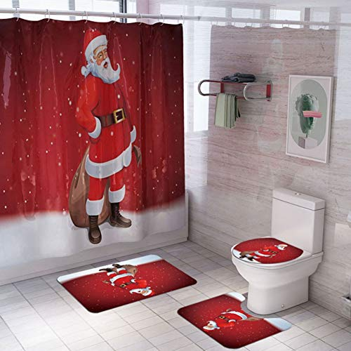 Ruibuy Christmas Shower Curtain with Hooks, Bathroom...