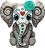 Teal Blue Day of The Dead Sugar Skull Baby Elephant Window Truck Car Vinyl Bumper Sticker Decal 5'' x 4''