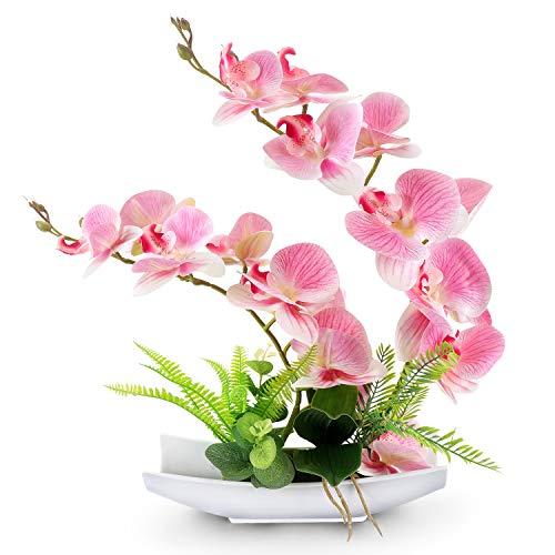 Yobansa Dekorative echte Berührung gefälschte Orchidee Bonsai künstliche Blumen mit Imitation Porzellan Blumentöpfe Phalaenopsis Blumenarrangements für Home Decoration (Pink 01)