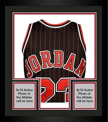 Framed Michael Jordan Chicago Bulls Autographed Black & Red Pinstripe Jersey - Upper Deck - Autographed NBA Jerseys