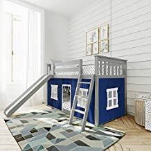 Max & Lily Low Bunk Bed with Slide and Blue Curtains, Twin, Grey