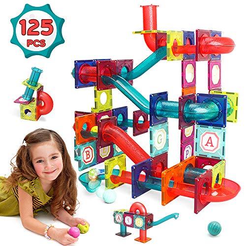 LUKAT Magnetic Building Blocks Tiles, 125 PCS 3D Pipe Construction Toys for Kids 3 4 5 6 7 8 Year Old STEM Magnet Tiles Set Creativity & Educational Building Toys Game Gift for Boys & Girls