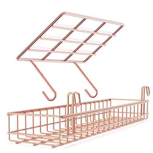 AQJSQ Korb/Regal für Gitter Pinnwand, DIY Multi-Funktion Wandgitter Rose Gold deko 40 * 10 * 5/25 * 10 * 8 cm