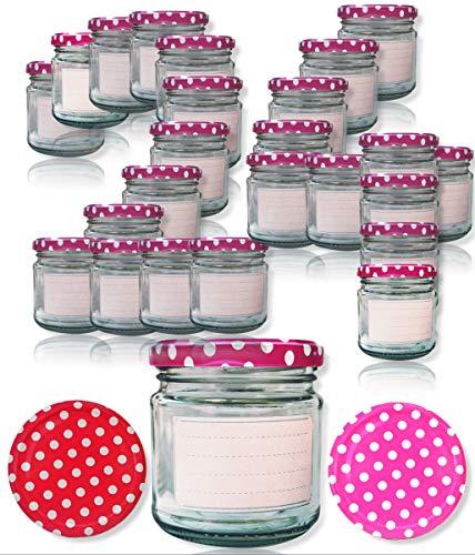 SMIJOS hübsche kleine Marmeladengläser 200 ml in pink l Dank der schlanken Form passen die kleine Schraubgläser in jeden Schublade. Für echte Einmach und Einkoch Liebhaber