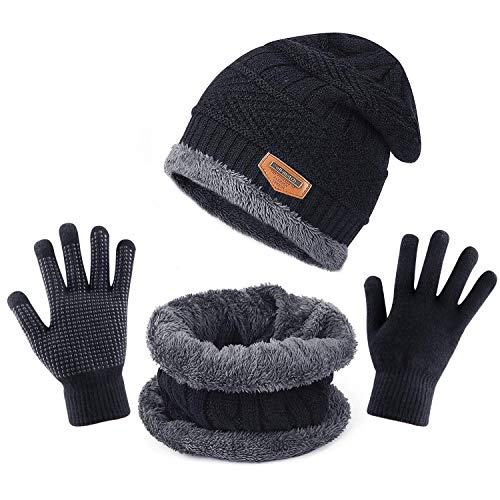 TAGVO Winter Beanie Mütze Schal Set, Fleece-Innenfutter Warm Stretchy Knit Beanie Cap Elastischer Halswärmer - Passgenau für Damen Herren Mädchen Jungen Erwachsene Kinder