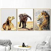 ワイルドアフリカライオンキリンウォールアートキャンバス絵画北欧のポスターとプリント壁の写真リビングルームの装飾-40x60cmx3個フレームなし