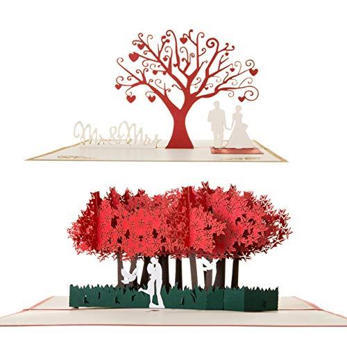 Kesote 2x Hochzeitskarten Pop Up Glückwunschkarten 3D Karten Hochzeit Grußkarten Geschenkkarten Valentinstag Jahrestag