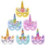 BESTZY 12 Piezas Máscaras de Unicornio, Máscaras para Cumpleaños Unicorn Party, Niños Favores de la Fiesta de Cumpleaños