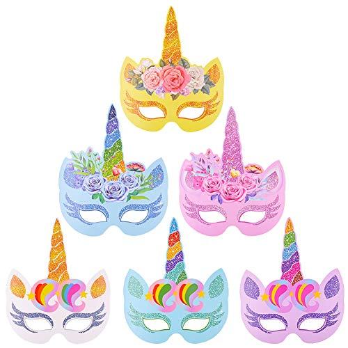 BESTZY 12 Stück Einhorn Papiermasken, Regenbogen Einhorn Papier Masken für Kinder Birthday Party Favors, Weihnachten, Halloween und Motto-Partys