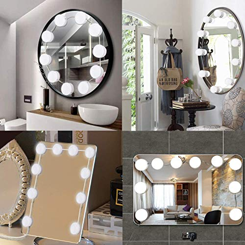 Spiegel Beleuchtung Dimmbar Schminklicht Make-up Lampe Hollywood-Stil LED Spiegelleuchte Schminktisch Schlafzimmer Badezimmer DIY Leuchten10 LED-Lampen,Enthält Keinen Spiegel