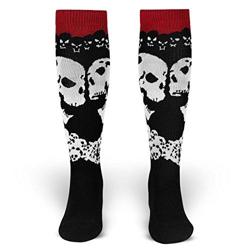 Dawn of Decay | Socken von ROCKASOX | Schwarz, Weiß, Rot | Lachende Schädel | kniehoch | Unisex Strümpfe Size S (35-38)