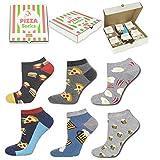 soxo lustige Herren Socken Pizza Geschenkbox | Größe 40-45 | Bunte Herrensocken aus Baumwolle mit witzigen Motiven | Besondere, mehrfarbig gemusterte Sneakersocken für Männer