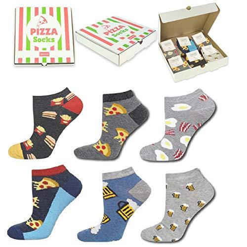 soxo Pizza Herren Socken Geschenk Box Lustigen Socken 40-45| Bunte Gemusterte aus Baumwolle Herrensocken | Geschenk Verpackt Gift box Herrensockenset in einer Pizza-box