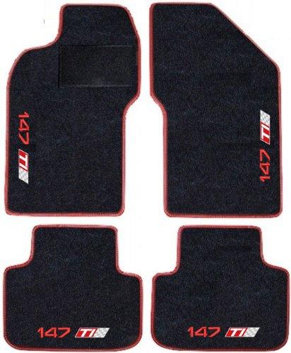 SonCar Ensemble complet de tapis en moquette noir avec bord rouge sur mesure avec broderie pour Alfa Romeo 147 TI rouge