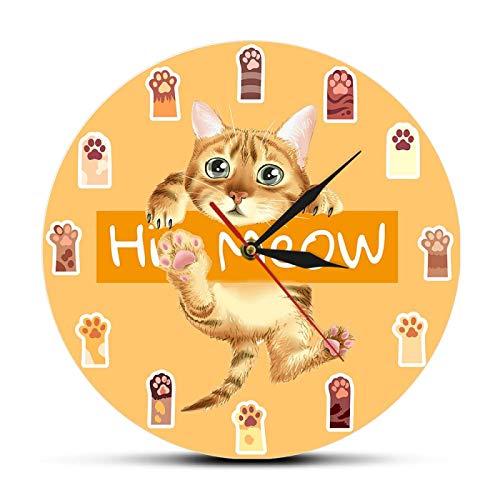 hufeng Reloj de Pared Hi Meow Colorful Cat Paws Reloj artístico para niños Dormitorio Movimiento silencioso Relojes Dibujos Animados Decoración del hogar Reloj Colgante Kitty Wall