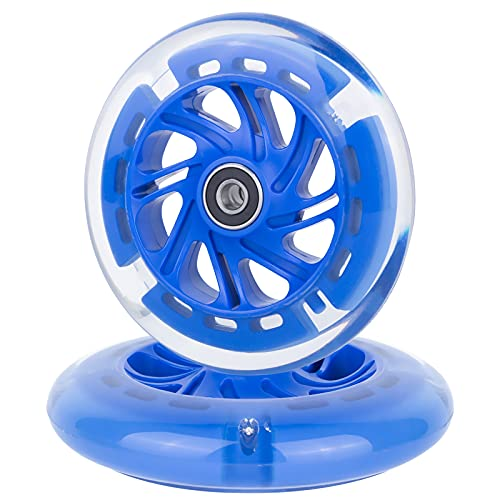 AOWISH 120mm Light-up Scooter Wheels Pair 120 mm LED Flash Flashing 3-Wheeled Kick Scooter Front Replacement Wheel with Bearings ABEC-9 for Kids Foldable Micro Scooters (Blue)