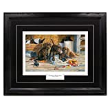 Northern Promotions Caught in The Act - Terry Doughty, Chocolate Lab Puppies and Hunting Wall Art Print for Home/Office/Cabin, 17 x 21 in, Black Mat/Black Frame – More Frames Available