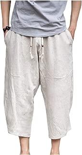 Mogogo Men's Fashion 3/4 Length Linen Pure Loose Harem Pant