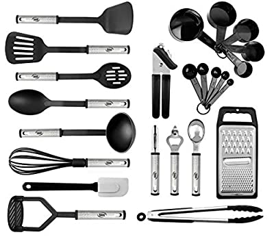 Kitchen Utensil Set 24 Nylon and Stainless Steel Utensil Set, Non-Stick and Heat Resistant Cooking Utensils Set, Best Kitchen Tools, Useful Pots and Pans Accessories and Kitchen Gadgets from Kaluns