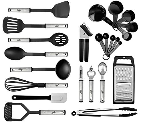 Kitchen Utensil Set 24 Nylon and Stainless Steel Utensil Set, Non-Stick and Heat Resistant Cooking Utensils Set, Best Kitchen Tools, Useful Pots and Pans Accessories and Kitchen Gadgets