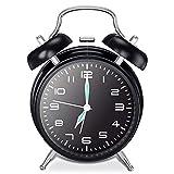 Reloj Despertador de Doble Campana con luz Nocturna Timbre de Alarma Retro Despertadores sin tictac Silencioso Vintage Unidad de Cuarzo (Negro)