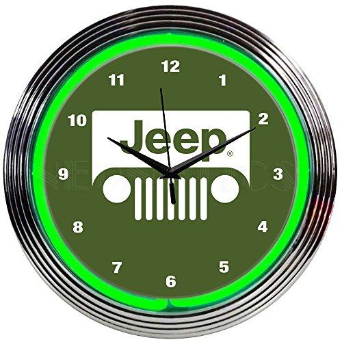 Neonetics Jeep Green NEON Clock