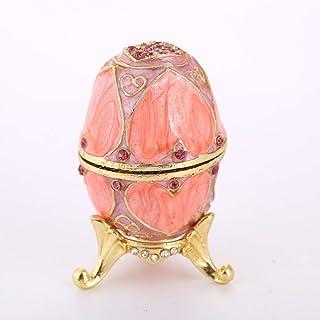 WHSS Boîte à bijoux en forme d'œufs en métal émaillé et diamants Rose 5 x 9,5 cm