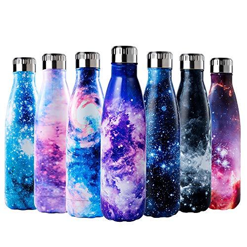 Enlifety Trinkflasche Edelstahl 500ml, Vakuum Wasserflasche Doppelwandige Thermosflasche, Trinkflasche Isolierflasche BPA Frei Sportflasche für Kinder, Fahrrad, Wandern und Camping - Lila Kosmos