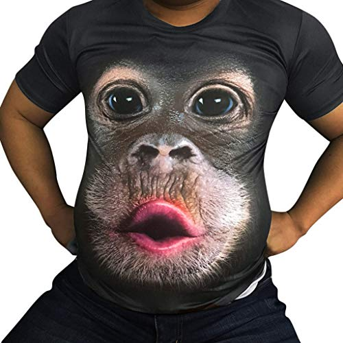 Momoxi Herren 3D Orang-Utan Kurzarm T-Shirt L, Sommertop weich Squash-T-Shirts für Herren 2020 Männer Ultra Geschenk