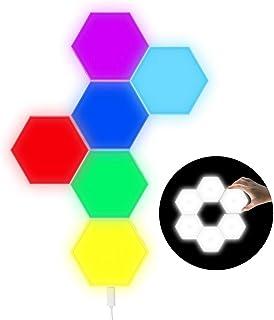 6 Piezas Empalme RGB Luces, Hexagonal USB Cargar Tacto Sensible Luces de Pared Modulares Ceativas DIY Magnética Aracción Geometría Lámpara de Noche para Decoración del Hogar, Regalo