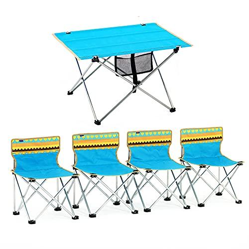 Conjunto de Mesa y Silla de Exterior Mesa y Silla Plegables portátiles, adecuadas para Viajes de Camping al Aire Libre y Bicicletas, Mesa de jardín y combinación de sillas de Cinco Piezas