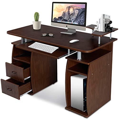 GOPLUS Computertisch, Schreibtisch Farbwahl, Bürotisch mit Tastaturauszug, Arbeitstisch, PC-Tisch mit Schubladen, 120x55x85cm (Braun)