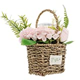 Homoyoyo Artificial Rose Bouquet with Rattan Basket Fake Soap Flowers Plants Arreglos Florales para La Boda Regalo del Día de San Valentín Desktop Table Decorations Pink