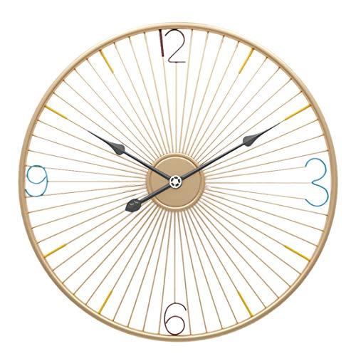 YIHENGRUI Uhren Kreative Einfache Fahrradfelge Form Iron Art Wanduhren Home Silent Wanduhr,Gold,50x50cm