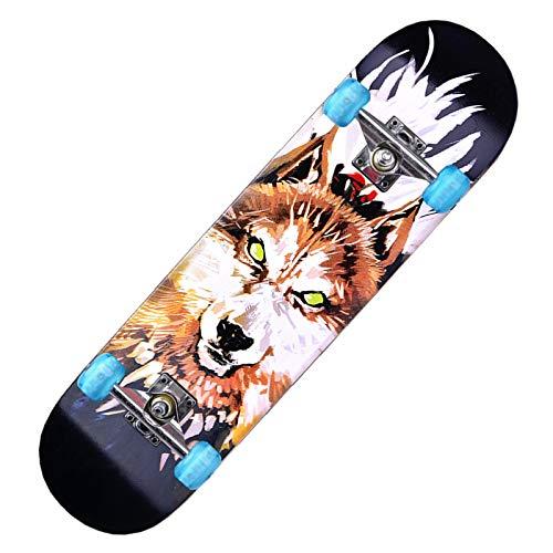 Skateboards Pro - Skateboard completo per principianti, ragazze, ragazzi, adulti, ragazzi, 78,7 x 20,3 cm, 7 strati di acero canadese Cruiser Trick Wood Skateboard (nero)