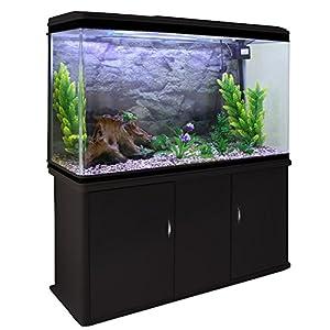 Monster Shop Fish Tank Aquarium Large Marine Tropical Salt Water & Complete Starter Kit, Filter, Air Pump, Heater Accessories/Black Cabinet, Natural Gravel 4ft 300L