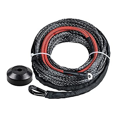 Black Synthetic Winch Line Cable Rope Heat Guard + Rubber Stopper Kit for Jeep SUV ATV UTV KFI