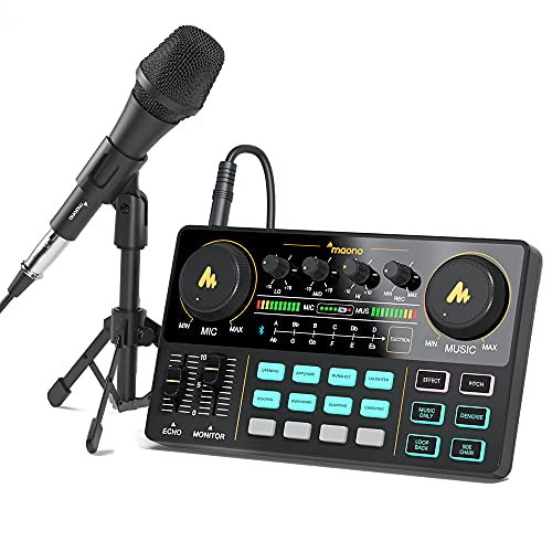 Audio Interface with DJ Mixer and Sound Card, Maonocaster Lite Portable ALL-IN-ONE Podcast Production Studio with 3.5mm Microphone for Guitar, Live Streaming, PC, Recording and Gaming(AU-AM200-S2)