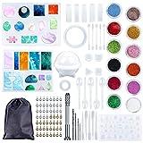 PLDDY 98 Piezas Kit de Molde Silicona Joyeria Epoxi,Juego de Moldes de Resina,Juego de Herramientas de Epoxi de Cristal con Bolsa Almacenamiento Fácil de Desmoldar Limpiar,para Hacer Joyerias Kit