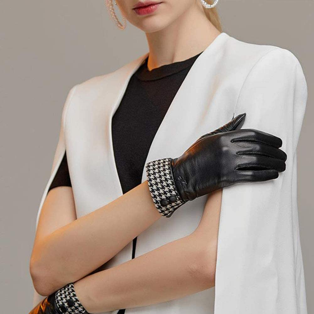 Womens Leather Gloves, Winter Warm Touchscreen Texting Lined Driving Motorcycle Dress Gloves,Black(Plush)-XL