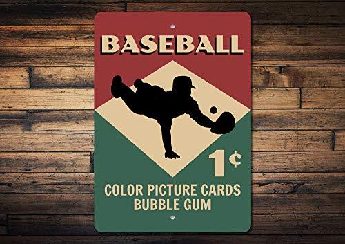 No Branded Cartel de tarjeta de béisbol, decoración de metal, rótulo de béisbol, regalo de béisbol, regalo de los amantes del béisbol, signo de metal decorativo de béisbol