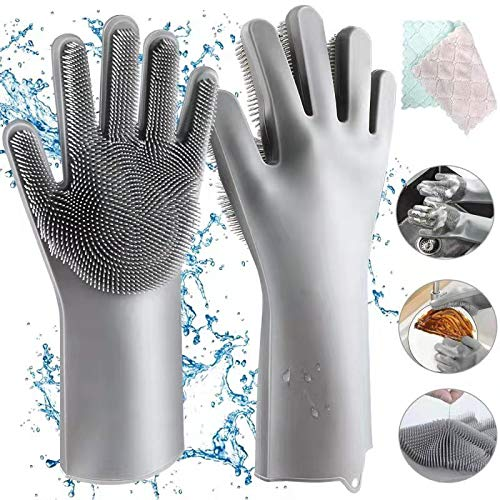 Homga Gants en Silicone Aiglam - pour Nettoyer Les Gants Magiques - Réutilisables - Gants de Lavage en Caoutchouc - Résistants à la Chaleur