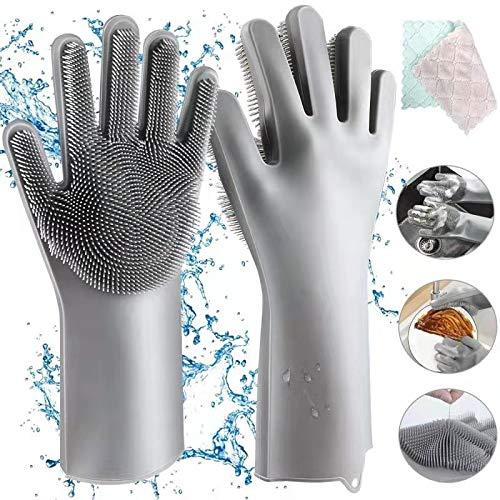 Aiglam Silikon Handschuhe, Magische Handschuhe Reinigen Silikon-Spülhandschuhe Wiederverwendbare Geschirrspülhandschuhe, Gummi-Handschuh...