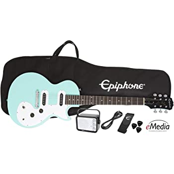 Epiphone Les Paul SL Starter Pack (Includes Mini Amp, Gigbag, Tuner, Picks, and Strap), Turquoise