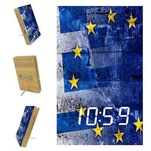 Reloj Despertador Digital para dormitorios Cocina Oficina 3 configuraciones de Alarma Radio Relojes de Escritorio de Madera - Bandera de Grecia y Unión Europea