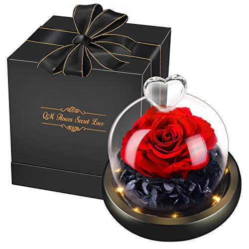 swonuk Rosa Eterna Incantata Fiori Magia Artificiali Fresca Rossa Conservato con Luci a LED in Cupola Vetro Regalo per Festa della Mamma San Valentino Anniversario di Matrimonio